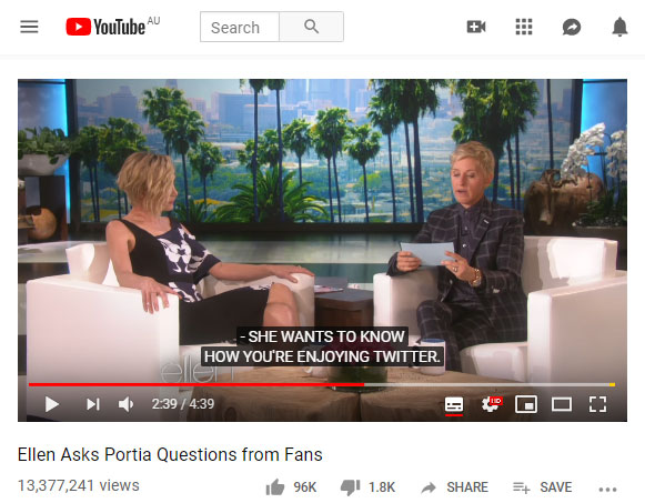 youtube image of the ellen show with the closed captions on
