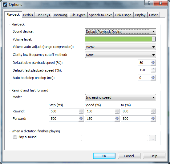 Screenshot of Express Scribe control window, with multiple tabs of settings and playback options. This is the second of our best free transcription software tools.