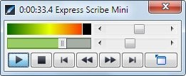 Express Scribe playback options box, with playback speed control.