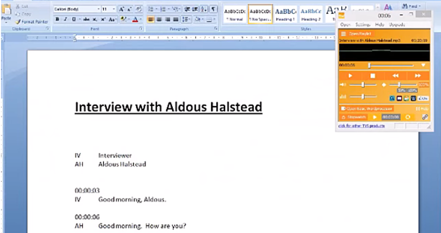 Screenshot of Word document with orange FTW Transcriber control box in the corner. The user is transcribing an interview. This is the third of our best free transcription software tools.