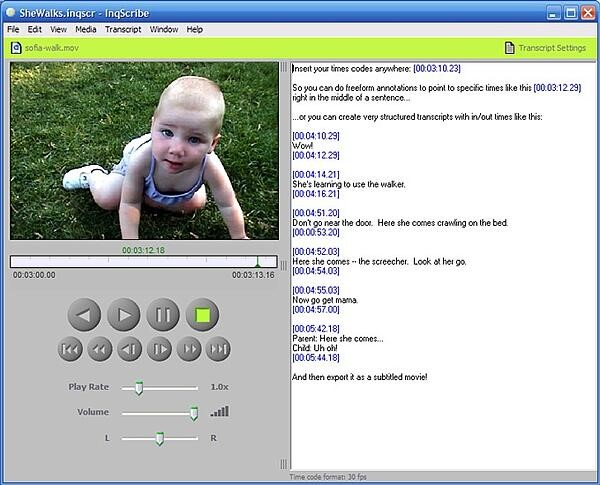 Inqscribe program is open, with a video file and transcript showing in the same window. This is the fourth of our best free transcription software tools.