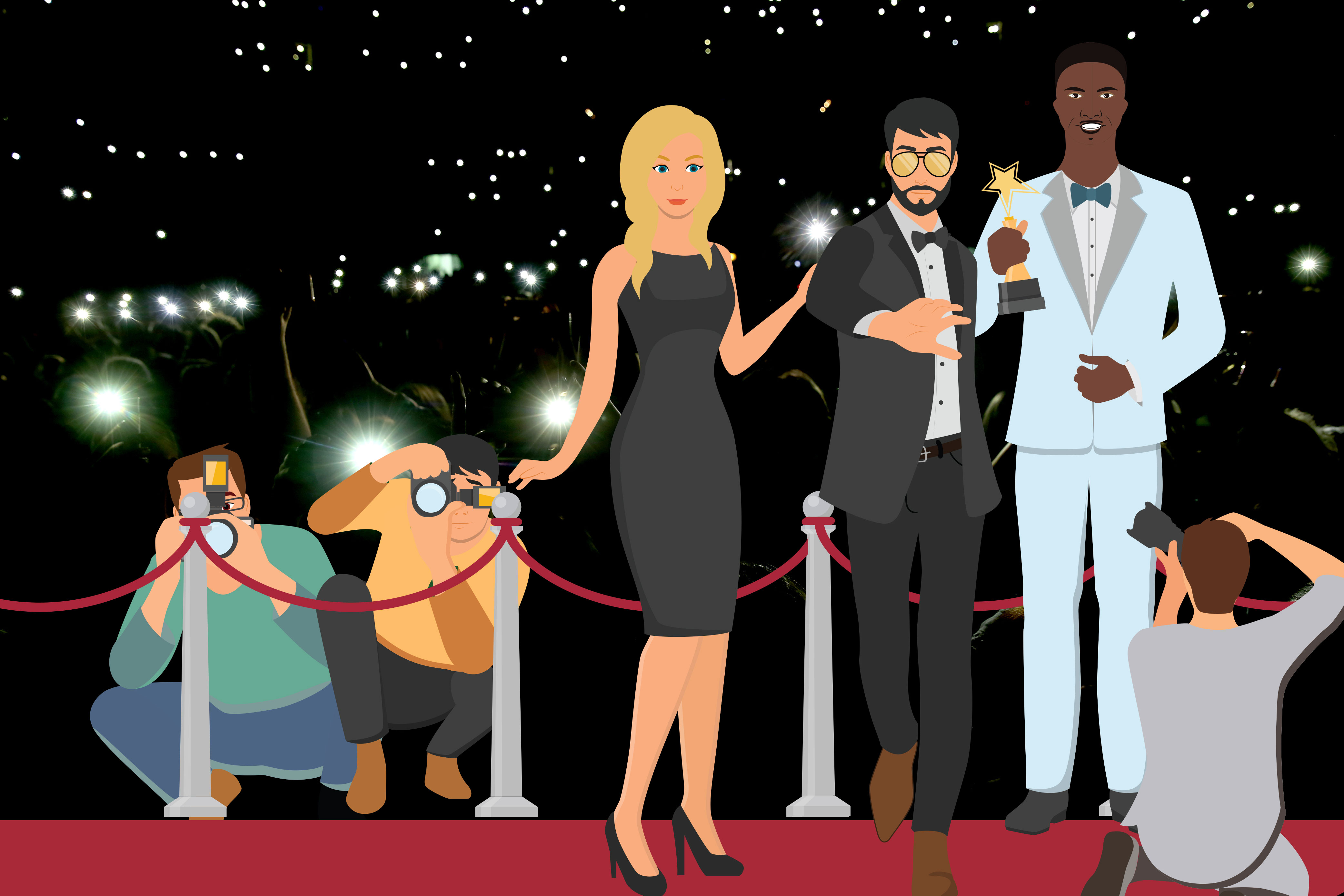 Three famous deaf people on a red carpet posing for the cameras. They are clearly famous actors. Paparazzi are surrounding them. Lights shine in the distance.