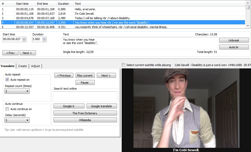 A video embedded in the free captioning program Subtitle Edit. The video is playing footage of someone signing towards the camera. There are timecodes and captions at the top of the screen, options to translate and edit the text appearance, and buttons to click through to Google, Google Translate and Wikipedia.