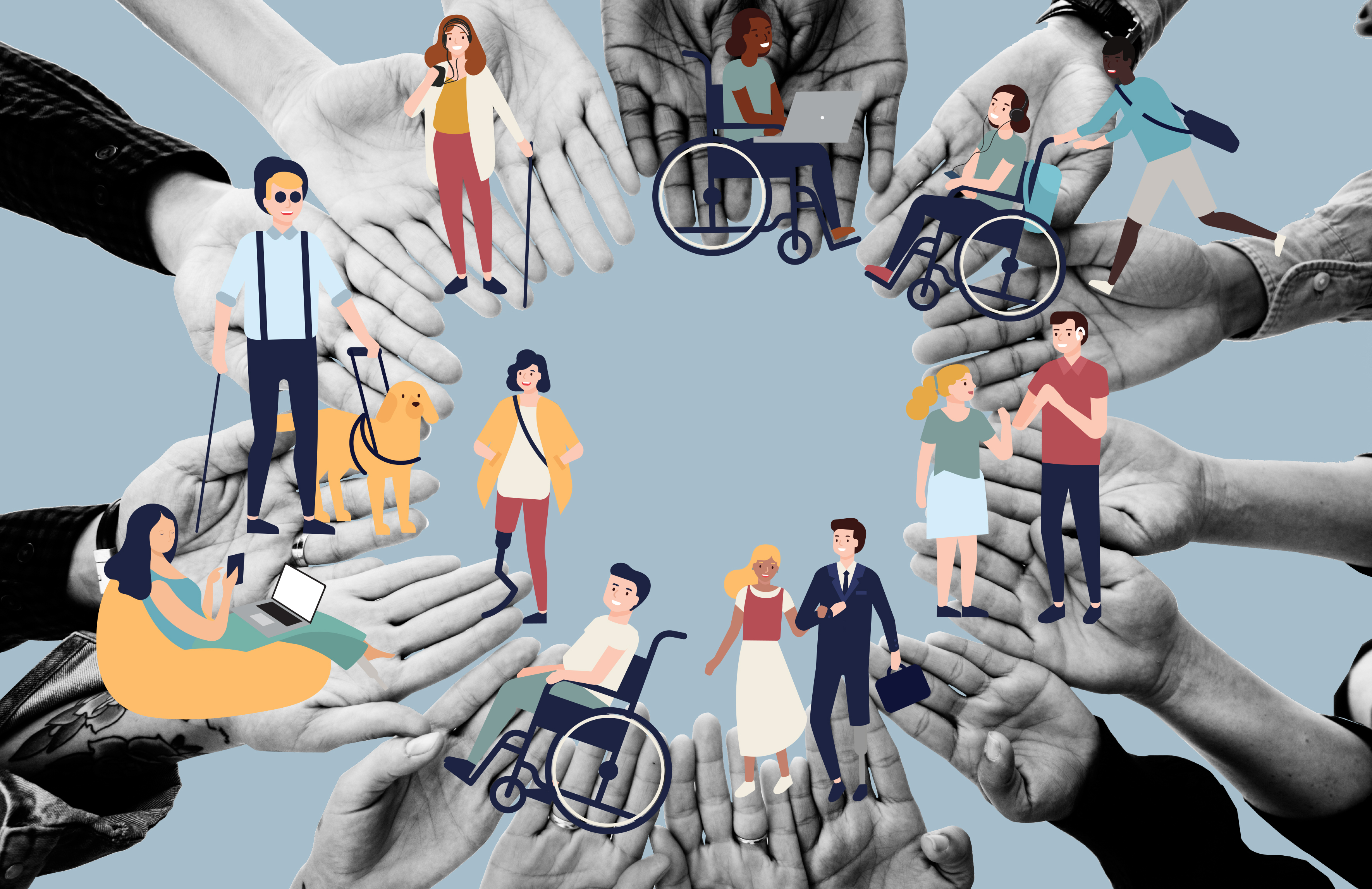 A photograph of a circle of hands with graphics of people smiling together. Some people are using wheelchairs, others have guide dogs and hearing aids.