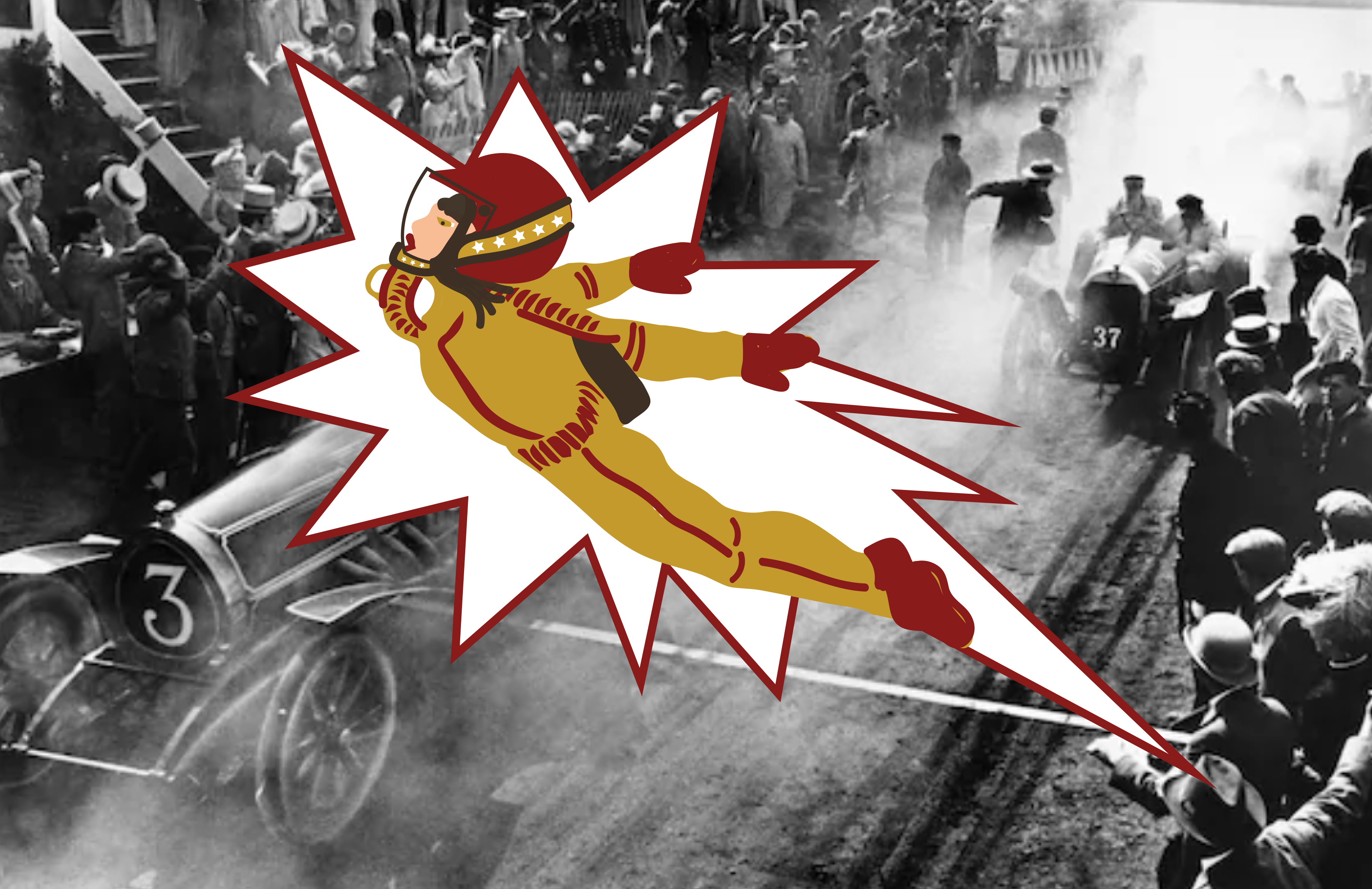 A stuntwoman wearing a suit and helmet inside an explosive illustration. She is flying through the air. Behind her is an old black-and-white photo of people gathering around racecars on a road.