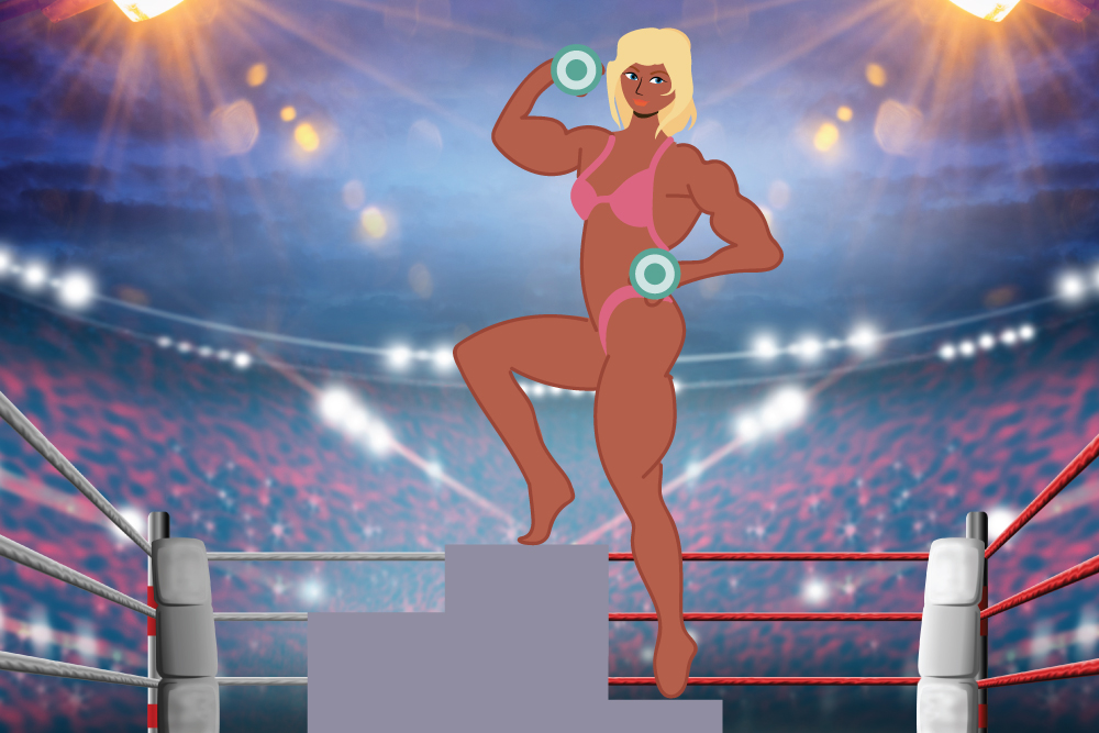 A bodybuilder holding weights and posting on a platform in front of a crowd. She is wearing a pink bikini.