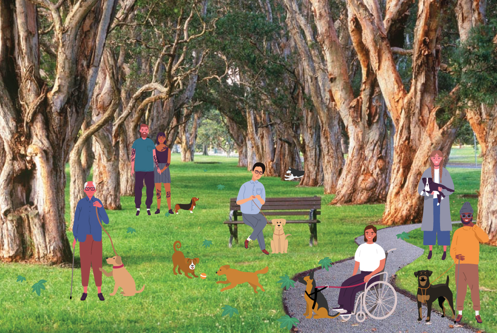 Illustrated people sitting in a park. They are accompanied by different types of assistance dogs. There are large trees either side of them and a footpath.