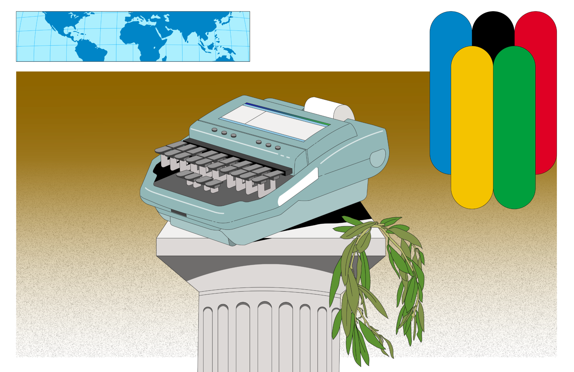 An illustration of a stenograph machine on a Roman column. The Olympic colours are in one corner and a world map in the other.